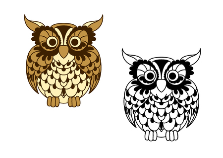 eagle owl: Vintage cartoon and outline colorless owl bird with brown openwork plumage and ornamental feathers around eyes. Great for education mascot, nature symbol or t-shirt print design