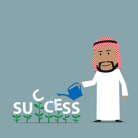 raising cans: Cheerful cartoon arabian businessman grows a success. is watering green plants with a word Success with watering can. Growing business concept Illustration