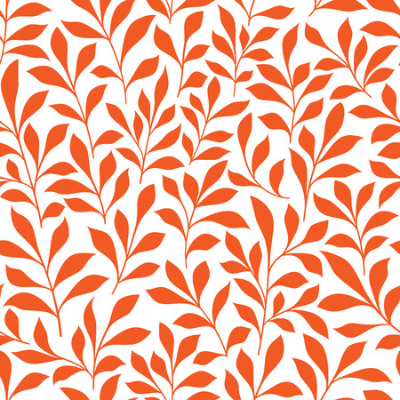 wild herbs: Seamless leafy branches pattern with bright orange leaves of wild herbs on white background. Use as fabric, wallpaper ornament or interior accessories design Illustration