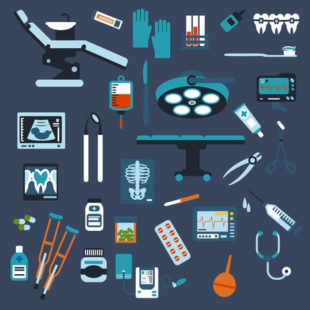 medical instruments: Nha khoa, phẫu thuật, kiểm tra y tế và các biểu tượng thuốc bằng phẳng với thuốc, ống tiêm, ghế nha sĩ và bàn phẫu thuật với dụng cụ, x-quang, ống xét nghiệm máu và túi, ECG, áp huyết áp, siêu âm, ống nghe, nạng