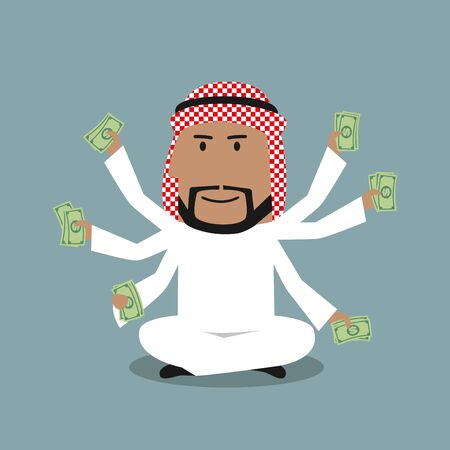 wealthy: Wealthy cartoon arabian businessman with many hands sitting in lotus pose and holding dollar bills in each hand. Richness, success, wealth and multitasking concept design Illustration