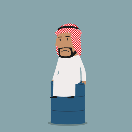 frustrated: Frustrated arabian businessman sitting on the oil tank. Business concept of crisis on oil market, fuel pricing, financial failure or bankruptcy Illustration
