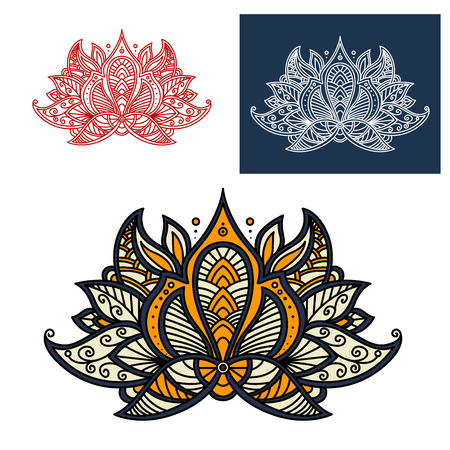 scroll design: Indian paisley openwork flower with beige, orange and gray curved petals, adorned by lace pattern of curly lines. Great for oriental interior accessories or textile print design