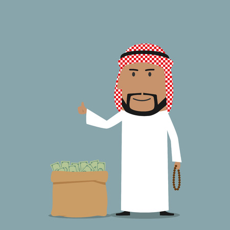 wealth concept: Smiling cartoon arabian businessman with prayer beads in hand standing near full money bag and showing thumb up sign. May be used as finance, business or wealth concept