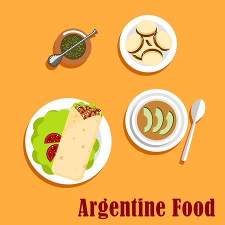 alfajor: Argentine lunch and dessert food flat icons with empanada, stuffed with beef, tomatoes, beans and onion, served on lettuce, vegetable stew with sliced avocado, alfajor cookies with milk caramel and mate