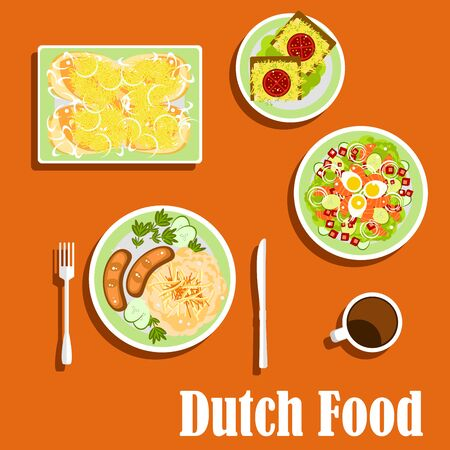 fried fish: Dutch cuisine food flat icons with sauerkraut and potatoes with sausages, salad with salmon, eggs, cucumbers and lettuce, ginger bread with cheese and tomatoes, hot sandwiches with fried fish and cheese Illustration
