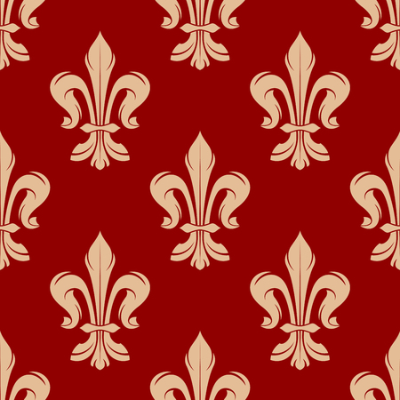 lys: Red festive seamless fleur-de-lis pattern for heraldic design with beige floral ornament of royal victorian lilies Illustration