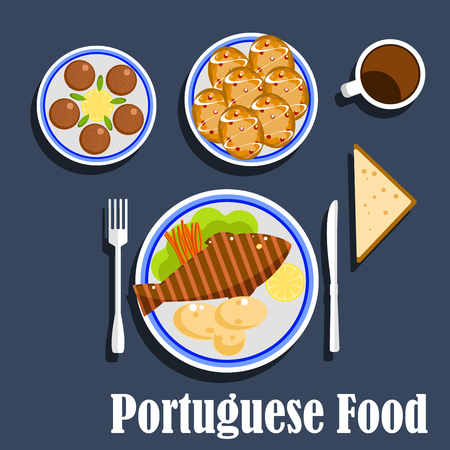 boiled: Portuguese national cuisine flat icons of cod fish served with boiled potatoes, lemon, carrot sticks on lettuce leaf, salted codfish fritters, egg custard tarts and cup of coffee Illustration