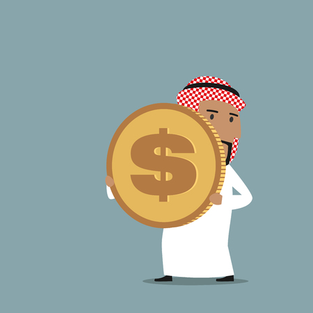 wealth concept: Cartoon arabian businessman in white national garment carrying a big golden dollar coin. Wealth, richness and finance success concept