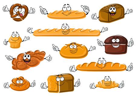 produits céréaliers: dessin animé frais de boulangerie et de pâtisserie heureux avec baguette française et des croissants, pains longs, de froment, le seigle et le pain de grains entiers, petit gâteau, brioche à la cannelle, bretzel salé et tressées pain aux graines de pavot