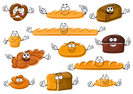 Happy cartoon fresh bakery and pastry products with french baguette and croissant, long loaves, wheaten, rye and whole grain bread, cupcake, cinnamon roll, salted pretzel and plaited poppy seed bun