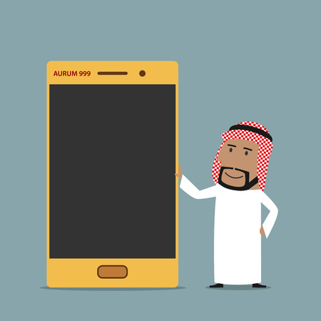 swank: Wealth or boast promotion concept. Cartoon arabian businessman presenting  and boasting of golden mobile phone