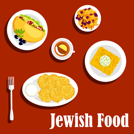 cream filled: Traditional vegetarian jewish food menu icons with potato pancakes, sour cream, kugel noodle casserole, falafel sandwich filled with fresh vegetables and olives, stewed baby carrots with dried fruits, cup of tea with lemon. Flat style
