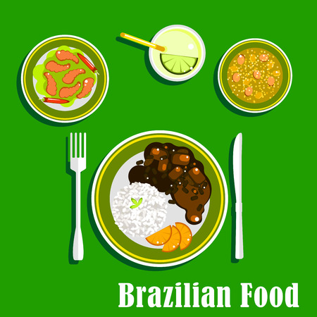 rice and beans: National cuisine of Brazil with black bean and meat stew, served with sliced orange and rice, spicy shrimps with chilli peppers, vegetable soup and lime cocktail with ice. Flat style icons