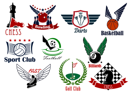 competitive sport: Sporting game retro emblems design for competitive sport games such as football or soccer, basketball, ice hockey, golf, chess, volleyball, darts, bowling and billiards
