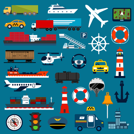 freight transportation: Transportation flat icons with taxi cars, trucks, cargo ships, yacht, airplanes, helicopter, freight and tank wagons, airport, navigator, compass, traffic light, helm, steering wheel, lifebuoys, lighthouses, anchor, bell, pilot helmet and captain cap