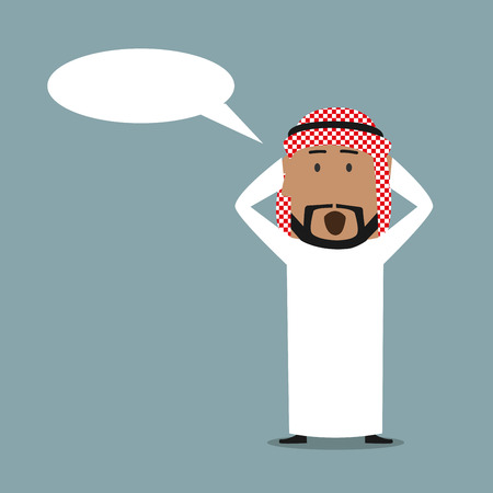 excited cartoon: Amazed cartoon arabian businessman with blank speech bubble clutching head in surprise and yelling. Business concept for wow and surprise emotion expression design Illustration
