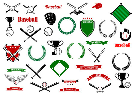 Baseball game sport items and heraldic elements with balls, crossed bats, trophies, gloves, baseball fields and home plate, shields, wreaths, ribbon banners and stars