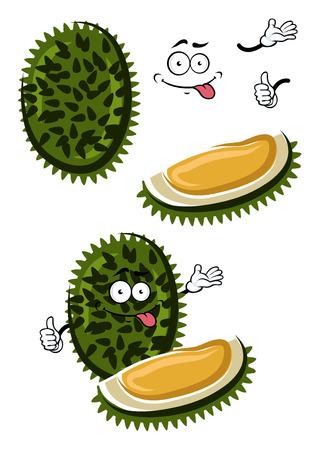 fruta tropical: Divertidos dibujos animados ex�tica fruta durian tropical con la c�scara de punta verde oscuro y pulpa de color amarillo dulce. postre vegetariano sano, libro de recetas o el uso de dise�o del men� Vectores