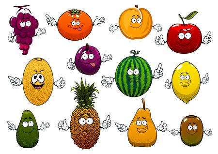 frutos manzana, naranja, uvas, piña, melocotón, limón, kiwi, sandía, aguacate, pera, ciruela, melón de dibujos animados feliz del verano. Divertidos personajes de frutas para el menú vegetariano sano o el diseño de la agricultura