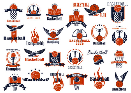 Basketball game emblems in orange and blue colors for sporting design with balls, baskets, courts and trophies, decorated by stars, wings, flames, laurel wreaths and ribbon banners 矢量图像