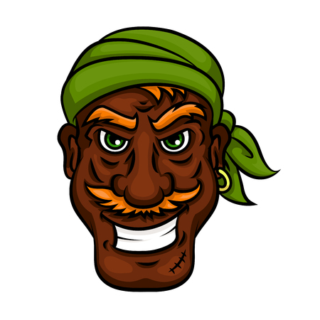 filibuster: Laughing pirate cartoon man with dark skinned mustached pirate sailor in green bandanna. Funny character for marine, piracy, children book or sailing theme design