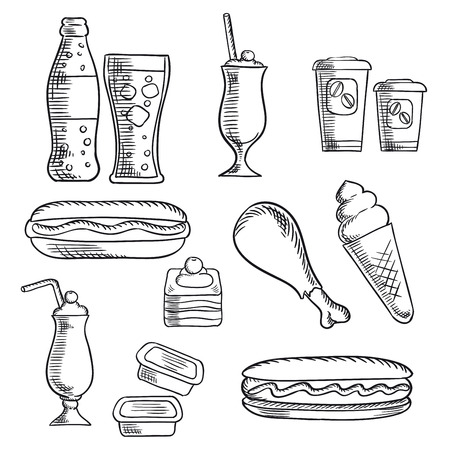 soda: Fast food isolated sketch icons of hot dogs, soda, chicken leg, milkshakes with cherries, cake, ice cream cone, paper cups of coffee, sauce containers. Addition for cafe and takeaway food restaurant design