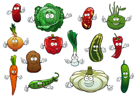 in peas: Happy vegetables cartoon characters with fresh potato, carrot, red chilli and bell peppers, onion, cucumber, green pea, cabbage, zucchini, brown beans, kohlrabi, leek and pattypan squash Illustration