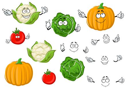 カラフルな漫画秋のジューシーな赤いトマト、シャキシャキ キャベツ、熟したオレンジ色のカボチャ、カリフラワーの野菜文字の巻き毛。農業収穫