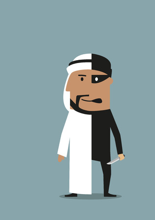 cartoon gangster: Arabian businessman with two personalities, one is successful entrepreneur in national garment and another as robber and thief with knife in black costume and mask. Criminal or illegal business themes concept