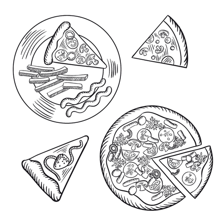 mozzarella: Slice of strawberry pie and fast food italian pizza, topped with salami, tomatoes, olives, mushrooms, mozzarella and parsley. Another slice served on plate with french fries and sauce. Sketch style