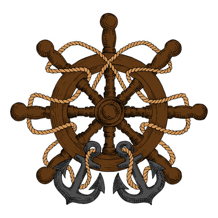 spokes: Old wooden ship helm with carved spokes and handles, decorated by rope and admiralty anchors. For nautical heraldry or navy emblem, marine travel design