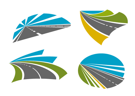 horizons: Colorful speedy highway roads and pathway symbols for traveling or transportation design with asphalt road, bright blue sky, mountains, yellow sand and green grassy roadsides, blue lake on the horizon