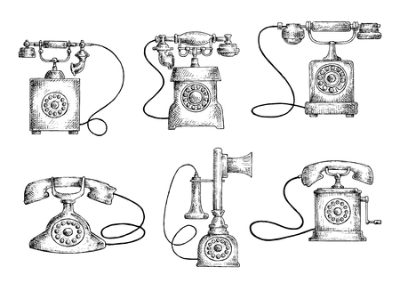 telephone line: Retro telephones sketches with vintage candlestick and rotary dial phones. Obsolete communication technology objects
