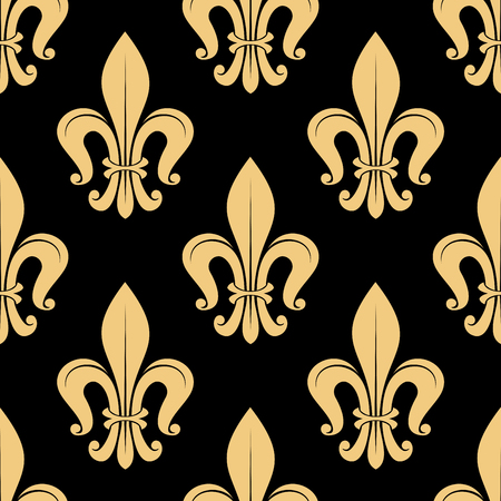 victorian wallpaper: Seamless golden fleur-de-lis pattern on black background with ornamental leaves in victorian medieval style. Luxury wallpaper, interior accessories or upholstery design usage