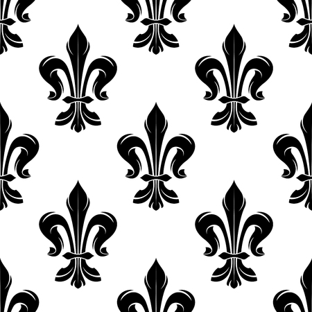royal black wallpaper: Black vintage fleur-de-lis seamless pattern on white background with floral ornament of french royal heraldry. Use as medieval interior accessories or wallpaper design Illustration