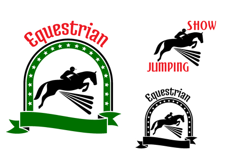 hurdles: Equestrian sport symbols for show jumping or eventing design with riders and horses jumping over high hurdles. Framed by arch of stars, ribbon banner, text Equestrian or Show Jumping