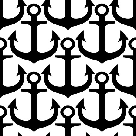 Black and white maritime seamless pattern with silhouettes of old admiralty anchors with curved sharp flukes. May be used as nautical background, retro wallpaper or interior design