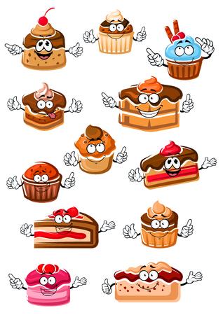 Cartoon heerlijke cupcakes, chocolade cakes, bessen taarten, fruitig dessert, cheesecake en pudding met slagroom, vers fruit en chocolade glazuur. Gelukkig zoet tekens voor gebak of bakkerij en menu-ontwerp Vector Illustratie