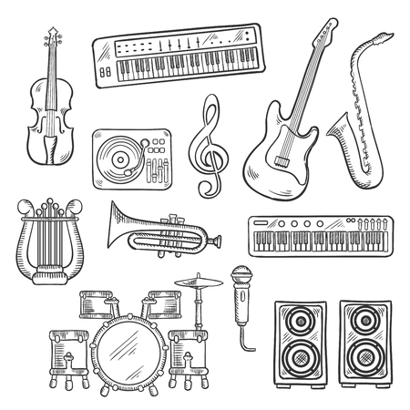 Musical instruments and equipments sketch icons of electric guitar, microphone and saxophone, trumpet, drum set, record player and synthesizers, lyre and violin, loudspeakers and treble clef