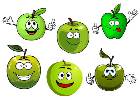 Friendly smiling healthy cartoon green apple fruits with fresh farm granny smith apples with leaves. Set of funny fruits characters for healthy food, vegetarian dessert, agriculture harvest design