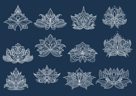 design interior: Dainty contoured paisley flowers with ornamental petals and leaves, adorned by openwork tracery in persian, turkish and indian style. Floral patterns for oriental carpet, tile or interior design Illustration