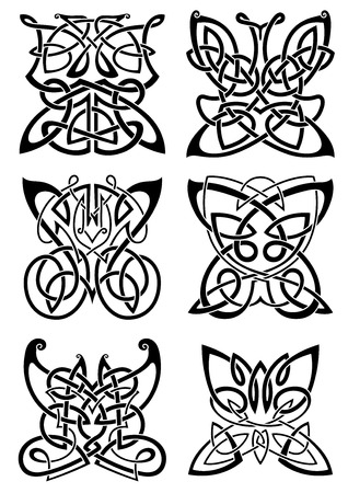 celt: Celtic tattoos of graceful black butterflies with ornamental wings, composed from traditional scandinavian knot patterns. Isolated background