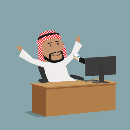 happy web: Online banking, business or e-commerce concept design. Happy arabian businessman receiving a diamond from business partner or bank online through world wide web