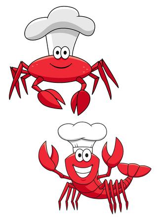 cangrejo caricatura: divertido crust�ceos cocineros personajes de dibujos animados con cangrejo rojo y camarones en los sombreros de cocinero. Utilizar como adem�s de libros para ni�os, mascota, mariscos o el dise�o del men� del restaurante
