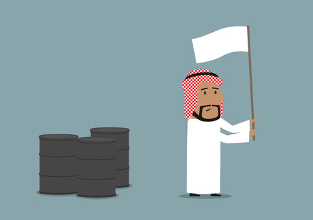 energy crisis: Business concept of oil price downturn, energy and financial crisis. Cartoon arabian businessman waving a white flag in front of oil or fuel tanks Illustration