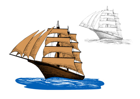 Old wooden sailing ship with pale brown sails among blue ocean waves, including second variant in gray colors. Marine travel, yacht racing or ocean cruise design. Sketch