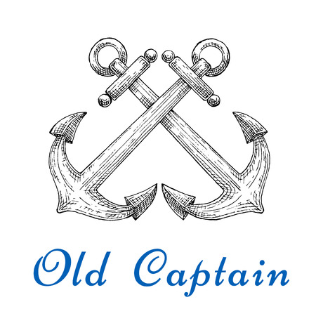 captain boat: Old captain sketch emblem with crossed nautical admiralty anchors. Ocean cruise, marine travel or t-shirt print design usage