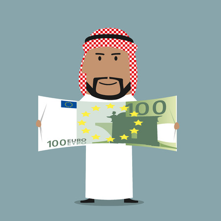 wealth concept: Successful wealthy arabian businessman in national white thobe and keffiyeh with one hundred euro bill in hands. Finance, success, wealth or abundance business concept