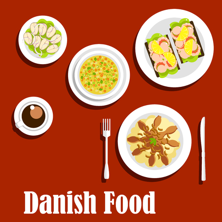 rye bread: Danish cuisine flat icons with traditional mashed potatoes topped with fried bacon and onion, pea soup, steamed cod, open sandwiches on rye bread with shrimps, cup of coffee Illustration